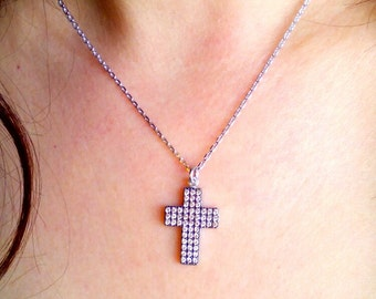 Cross Necklace-Diamond Cross Necklace-Hand Made Diamond Cross Necklace