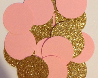 Pink and Gold Circle Confetti - Pink And Gold Decor - Baby Shower - Wedding - Pink And Gold Bachelorette Party - Bridal Shower - Birthday