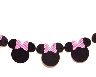 Minnie Mouse Garland - Hot Pink Polka Dot - Minnie Mouse Birthday - Minnie Mouse Party Decorations - Minnie Mouse Banner - Minnie Mouse