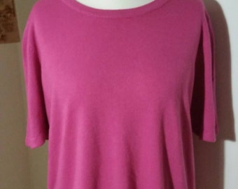 Soft pink short sleeved round neck top bust 48""