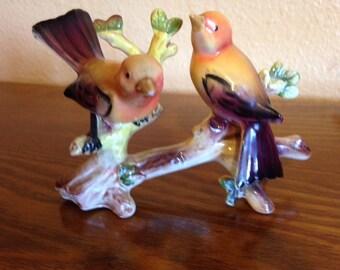 Vintage Porcelain Norcrest Birds on a Branch Figurine