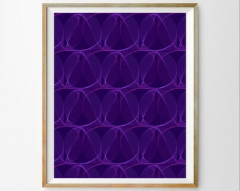 Purple wall print Purple wall art decor Purple download Purple modern wall art print 3D art print Modern abstract decor Purple wall art