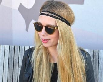 Headband, Hippie Hair band, black lace