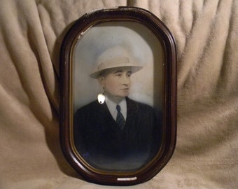 "Vintage Antique Wood and Gesso Picture Frame with Convex Bubble Glass 18"" x 12"" and original photo 1920's 30's Mobster?"