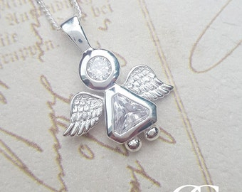 Sterling Silver Sparkling Guardian Angel Necklace