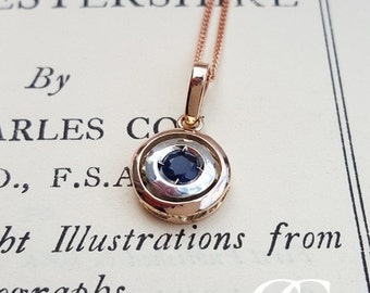 Vintage Art Deco 9ct Rose Gold & Sapphire or Ruby Target Pendant Necklace
