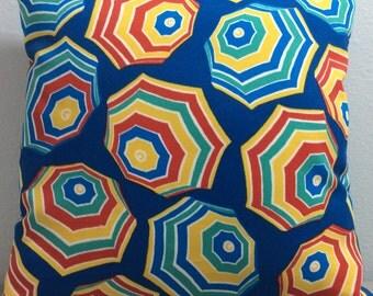 Beach Umbrella Pillow Cover-Beach Pillow-Lake Pillow-Tropical Pillow-Coastal Pillow-Nautical Pillow-Colorful Pillow-Outdoor Pillow