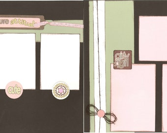 12x12 PURE ATTITUDE scrapbook page, premade girly girl scrapbook, 12x12 premade scrapbook page, premade scrapbook pages