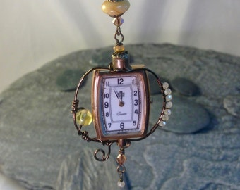 Upcycled Watch Honey Bead Necklace