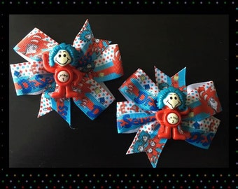 Dr Seuss Hair Bow - Thing 1 & 2