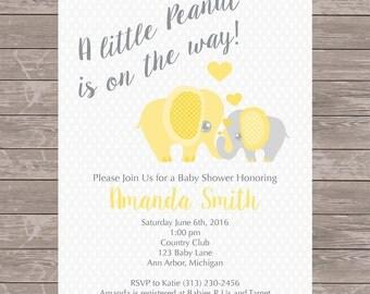 Elephant Baby Shower Invitation | Gender Neutral | JPEG FILE