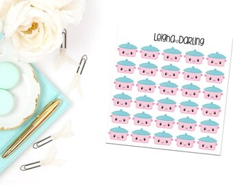 Kawaii Crockpot/Slow Cooker Meal Planning/Food Planner Stickers