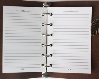Printed POCKET Size Notes Planner Inserts