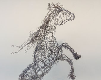 Wire rearing horse sculpture/figure