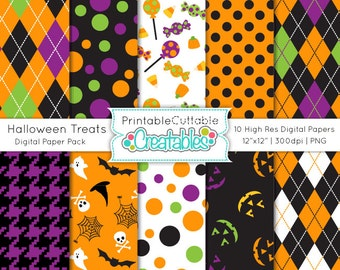 Halloween Treats Digital Paper Pack Printable Patterns Instant Download - Includes Limited Commercial Use!