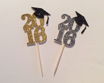 2016 Graduation Glitter Cupcake Toppers