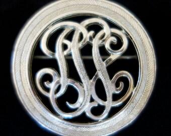 Coro Brooch Silver Tine round with Filigree / Vintage Coro Pin