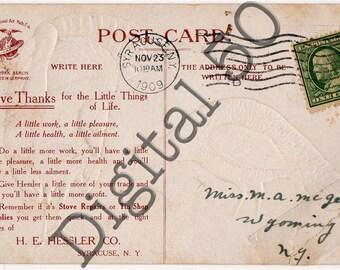 Thanksgiving Day Postcard Back 1909 Digital Download