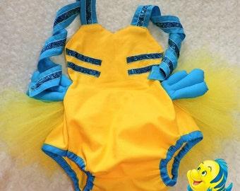 Flounder/Little Mermaid inspired Romper/tutu
