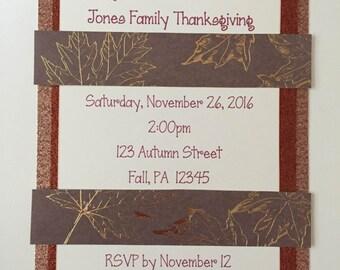 Thanksgiving Invitation - family/friends/dinner/invitation/handmade/customize