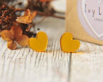 Mirror Love Heart Stud  Earrings in  Gold
