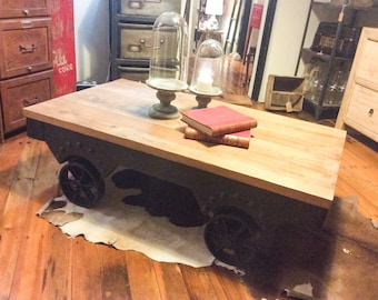 Industrial Cart Coffee Table Wheel