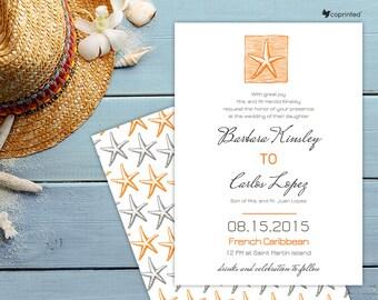Charming Summer Wedding Invitation - destination, beach and nautical, flowers and nature, seasonal, sea, saeside, starfish, shell