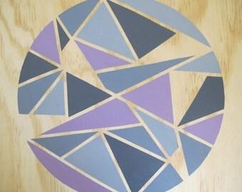 Geometric painting on wood (Purple + Grey)