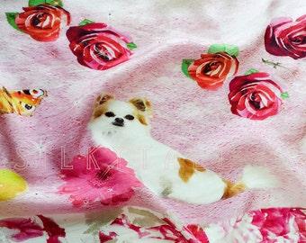 Chihuahua Scarf, Silk scarf with Crystals, Fashion Scarf, Pure Silk