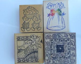 Four Large Vintage Rubber Stamps, Free Shipping