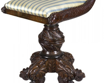 A Classical Carved Mahogany Piano Stool with Dolphins, New York, c.1825