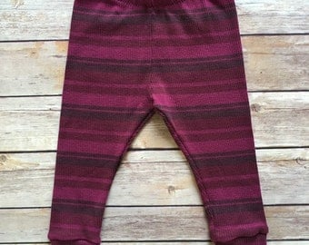 Baby Girl Upcycled Leggings - Pink and Purple Striped - Size 6-9 Months - Ready to Ship
