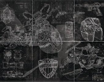Judge Dredd Lawmaster Blueprint Art Print (A2 = 420mm*594 or 16.5' * 23.4')