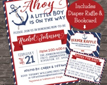 Nautical Baby Shower Invite, Diaper Raffle,  and Bookcard combo