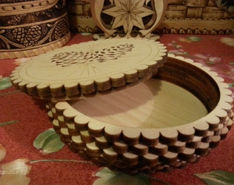 Beautiful jewelry box of siberian cedar