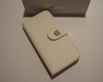 White PU Leather Wallet Phone Case with Swarovski Bling FOR iPhone 5 and 5S
