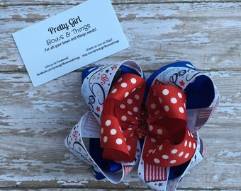 Fourth of July stacked hair bow, patriotic hair bow, america hair bow, merica hair bow, over the top hair bow, ott hair bow, red white blue