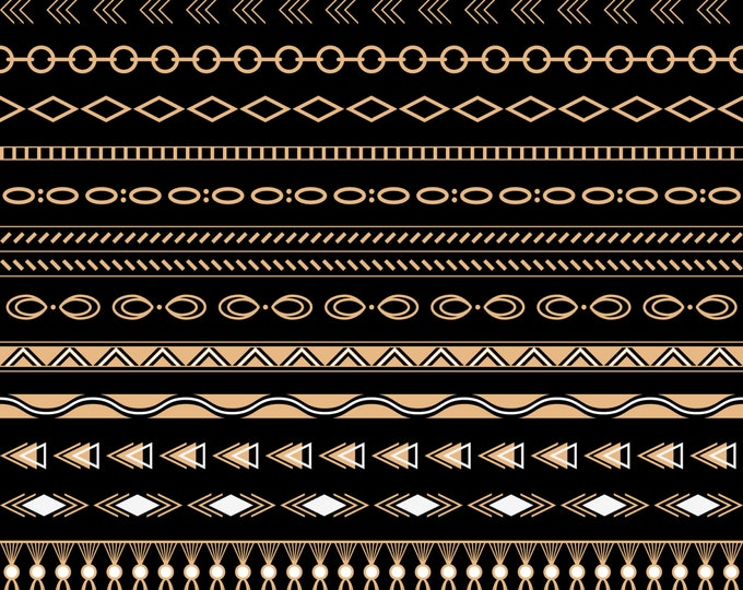 Tribal Borders Digital Clip Art, Gold tribal borders, Geometric borders, Scrapbooking Clip Art, INSTANT DOWNLOAD, PNG