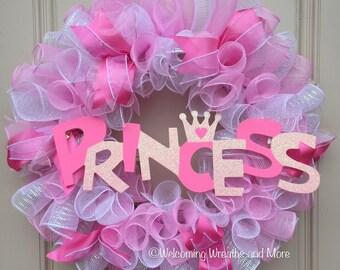 Princess Wreath, Baby Girl Wreath, Princess Mesh Wreath, Pink & White Deco Mesh Wreath, Girl Room Decor