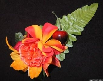 Tropical Rainforest Hair Flower -Pinup/Rockabilly/Vintage Girl/Cherry-