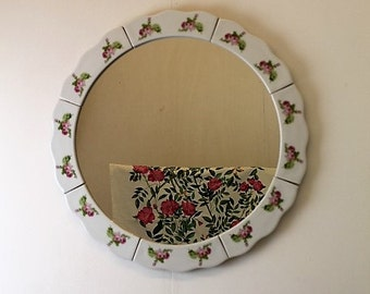 Vintage Porcelain Wall Mirror/Bavarian Parcelain Mirror/ Decorative Mirror (1937B)