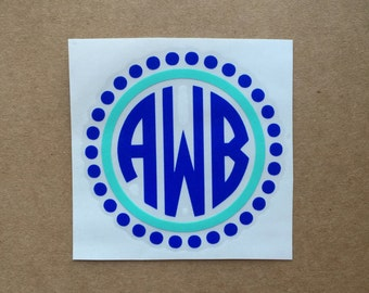 Two Color Circle Polka Dot Monogram Decal