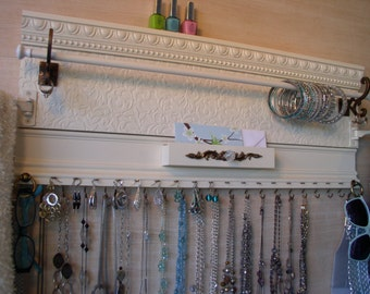 White jewelry organizer holds ALL your Accessories in One Space.This Beautiful jewelry wall display Has a Spot for Everything. Handmade Gift