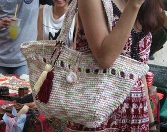 Handmade crochet Boho handbag bohemian shopping bag clutch purse for girl gift for wife