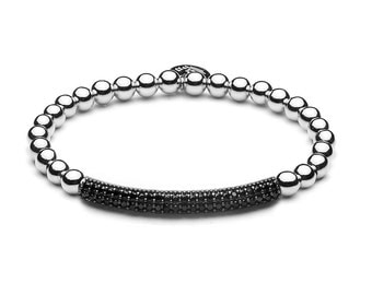 Limited Pavé tube ball bracelet silver / black