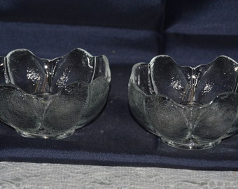 "Anchor Hocking ""Blossom"" Clear Candle Stick Holders Vintage Item #2658  ON SALE NOW!!"