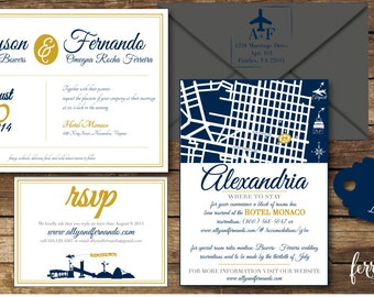 Wedding Invitation, Travel Themed Wedding Invitation, Wedding Invitation printable, Wedding Invitation Set [DIFFERENT COLORS AVAILABLE]