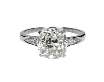 Antique Cushion Cut Diamond Solitaire Ring