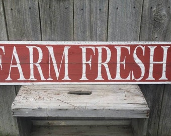 Farm Fresh 4 ft Sign, Rustic Sign, Rustic Wall Art, Hand Painted Sign