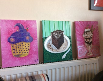 Paintings- three delicious puddings, acrylic on canvas